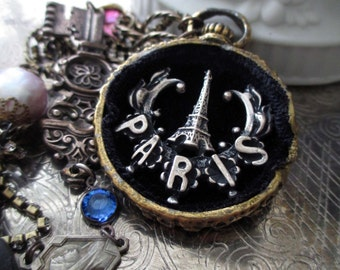 NECKLACE - paris eiffel tower souvenir black velvet key rhinestones pearl vintage rosary jewel tones, the french circus by robyn parrish