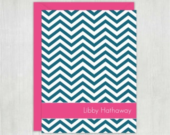 Personalized Stationery • Simple Chevron {FOLDED} • 10 Note Cards with Envelopes • Custom Stationery • Custom Stationary • Thank You Notes
