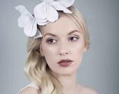 White Orchid Headband, Leather Flower Headpiece, Wedding Fascinator - Orcada