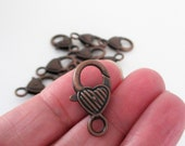 Copper Lobster Clasp - Heart Shaped Lock Clasp - Extra Large - Metal Lobster Clasp - 27mm x 12mm - Diy Craft Jewelry Findings - 8 Pcs