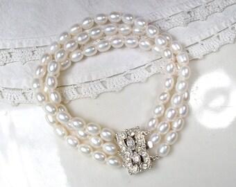 GENUINE Freshwater Pearl Multi Strand Bridal Bracelet, OOAK 1920s Vintage Wedding White Ivory Paste Rhinestone Clasp Art Deco Cultured Pearl