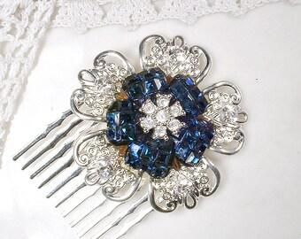 Dark Sapphire Blue Rhinestone Bridal Hair Comb Vintage Small Silver Navy Brooch Something Blue Old Wedding Hairpiece Deco Glam Flower 1 or 2