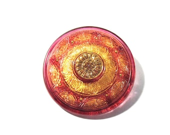 Czech Glass Sun Flower Button Hand Painted Gold Luster VINTAGE One (1) 36mm Flower Czech Glass Button Jewelry Fashion Supplies (S119)