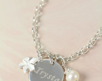 Flower Girl Gift, Bracelets for Girls with Initial Pearl or Birthstone Crystal 925 Sterling Silver