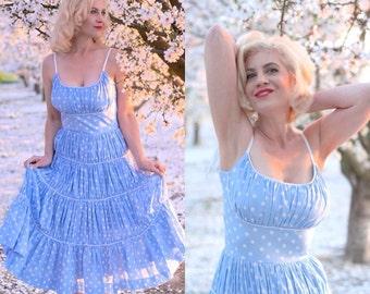 Marilyn's Polka Dot Dress- Blue Full Gathered Skirt- 4 Rows of Ruffles- Custom Made to Order