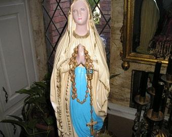 "Beautiful Praying Virgin Mary/Madonna/Dolorosa Chalk Figure Altar Statue Religious Icon 23"""