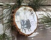 Circa 1900 - 2 Wonderful Skiing Ladies - Vintage Ski - Christmas Ornament - Ski Decor - Wood Slice Ornament - Gift Tag - Antique Ski - Skier