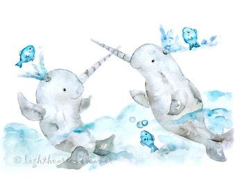 Narwhal Print, Watercolor Nursery, blue, teal, narwhal Painting, Whale Print, nautical Nursey Art, Kid's Bathroom Print, sea nursery