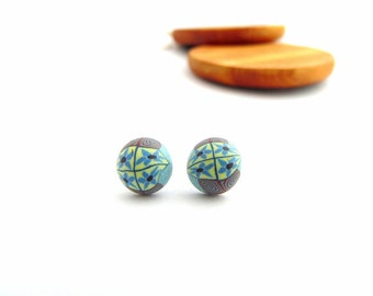 Pastel Blue Flower Stud Earrings, Dome, Hypo Allergenic, Fimo Professional Polymer Clay & Stainless Steel, Supremily Jewellery