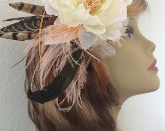 Silk Peony and Feather Fascinator