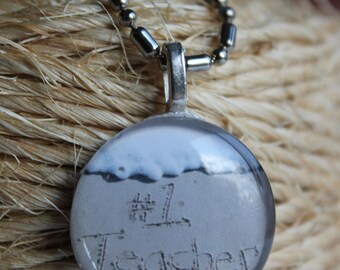 Number 1 Teacher Appreciation Beach Writing Round Necklace from the Jersey Shore