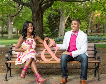 Ampersand Wedding Signs Wooden Letters Ampersand Sign in Wood for Engagement Photo Prop Save the Date or Wedding Decor (Item - AMP180)