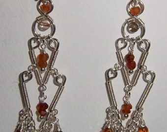 Sterling silver wire wrapped Handmade earrings with Hessonite Garnet