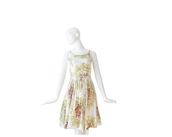 1950s Dress • 50s White Floral Dress • Day Dress • Small S
