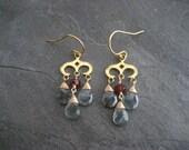 Chandelier earrings, moss aquamarine, garnet, dangle earrings, three tier, briolettes drops, moss green,  mixed colors, rhodolite garnet