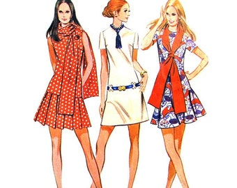 1970 Drop Waist Dress - Pleated Skirt - Long Scarf - McCalls 2310- Size 12 - Bust 34 - Super Hip and Cute Dress Pattern