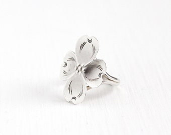 Vintage Sterling Silver Dogwood Flower Ring - Retro 1960s Stuart Nye Adjustable Floral Nature Inspired Dog Wood Statement Jewelry