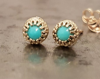 Turquoise Stud Earrings - 14K Gold Studs - Dainty Earrings - December Birthstone Earrings - Minimalist Jewelry - Venexia Jewelry
