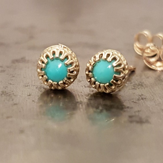 turquoise stud earrings 14k gold studs dainty earrings. Black Bedroom Furniture Sets. Home Design Ideas