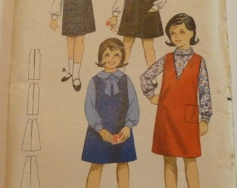 Girls Jumper Size 6 Breast 24 Butterick Pattern 3235 Vintage 1960's/1970's