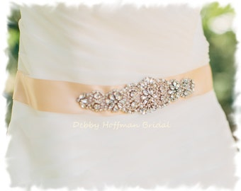 Blush Bridal Sash, Pearl Wedding Dress Belt, Pearl Crystal Bridal Belt, Wedding Belts Sashes, Pearl Jeweled Wedding Dress Sash, No 4060S1.5