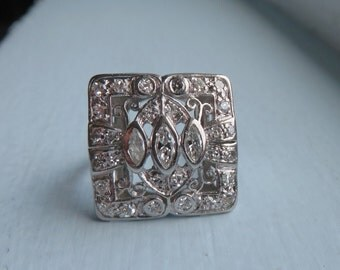 Antique High Art Deco Diamond Platinum Dinner Ring