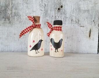 Primitive Decor,Country Decor,Country Shelf Sitter,Primitive Shelf Sitter,Primitive Crow,Country Rooster,Antique Bottle, Painted Bottle
