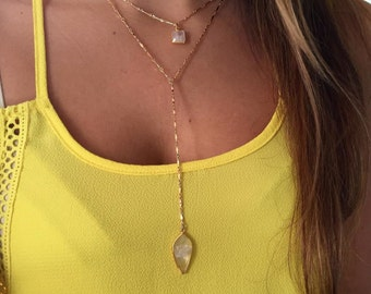 Rainbow Moonstone Lariat Necklace-gold lariat, y necklace, long necklace, dainty necklace, minimalist, gold y necklace