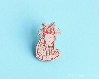 Handpainted Wooden Kitty Pin - Brooch