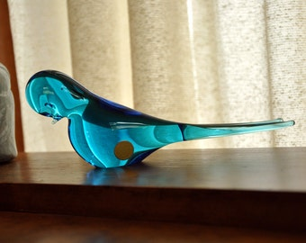 Glass Bird Blue Figurine Sweden Art Long Tail Label Paperweight Probably F M Konstglas Made In Sweden Modern Lines