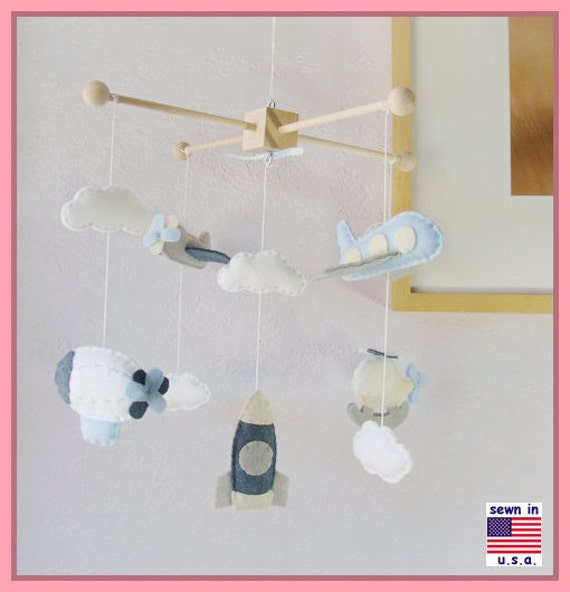 ON SALE !! Baby Boy Mobile, Boy Mobile, Airplane, Blimp, Jumbo Jet, Rocket, Helicopter Fly In The Sky, Denim Blue Gray White Ivory