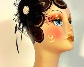 Fascinator, Wedding Fascinator, Wedding Hair Flower, Black Flower Fascinator, Wedding Hair Flower, Wedding Headpiece, 1920s Hair Piece