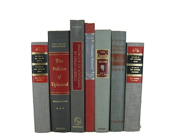 Gray  Red Vintage Decorative Books , Gray Book Home Decor ,  Vintage books for Wedding Decor