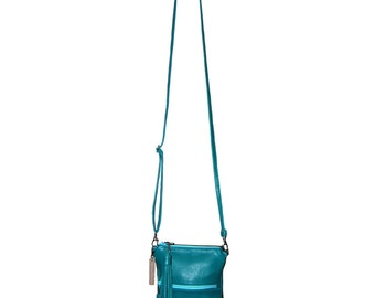 Turquoise Leather iPhone 6 Plus Purse, Small Crossbody Purse,  Phone Purse, Cross-Body Bag, iPhone 6 Purse, Phone Case,  Cross Body Purse