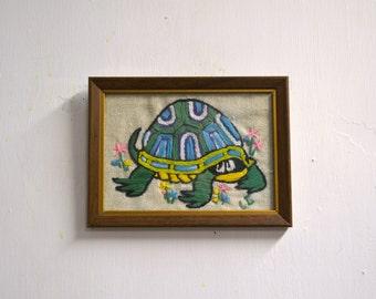 1970s Small Turtle Crewel Framed Art