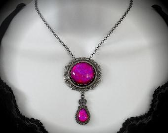 Homemade Dragon's Breath Glass Opal Gunmetal Round and Teardrop Edwardian Pendant