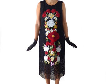 Great Gatsby Dress,Art Nouveau Dress ,Flapper Dress, Costume,Roaring 20s,Cocktail, 1920s Dress, Black Lace Floral Embroidery, Downton Abbey
