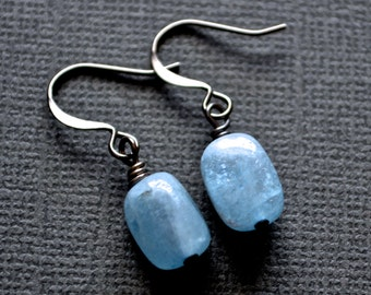 Aquamarine Gemstone Rectangles . Earrings