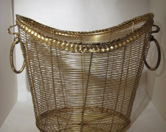 Vintage Brass Wire Basket Magazine Holder