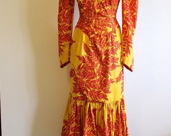 Incredible Vintage Yellow and Red Flamenco/Folk Dress - Size US 4 / UK 10