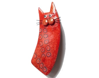Cat brooch named OCTAVE - Orange tangerine red, fun gift for cat lovers, cat animal brooch, mustaches, polymer clay cat brooch, cat jewelry