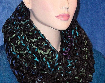 Black Crochet Infinity Scarf, Black Chunky Infinity Scarf, Teal Crochet Infinity Scarf, Handmade Infinity Scarf,Black Scarf, Multicolored