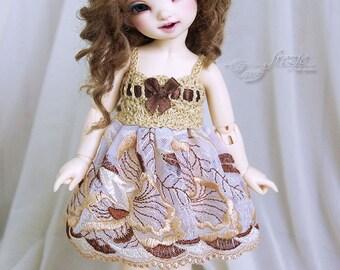 Bronze & beige dress for TINY bjd LittleFee Momocolor 29, Saintbloom