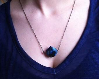 SALE Handmade OOAK Necklace Blue Agate Stone Modern Unisex Mens Natural Hippie Boho