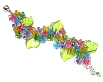 Swarovski Crystal Flower Charm Bracelet, Bright Colorful Acrylic Flower Clusters Pink Yellow Lime Aqua Purple Silver Jewelry Gifts For Women