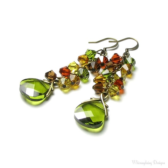 Cascading Autumn Colors Swarovski Crystal Antique Brass Earrings Long Briolette Drop Colorful Fall Leaves Olive Green Leaf Rust Brown Topaz