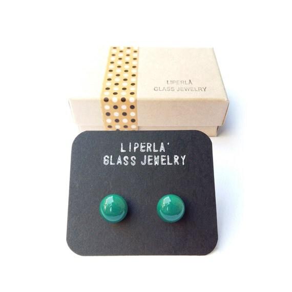 Teal Earrings, Post Earrings, Glass Earrings, Green Earring, Ocean green Stud Earrings