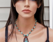 """Turquoise Necklace - Bead Embroidered - Porcupine Quill Necklace - Fringe - Red Black Turquoise - 18"""" Stone Necklace - Southwestern Style"""