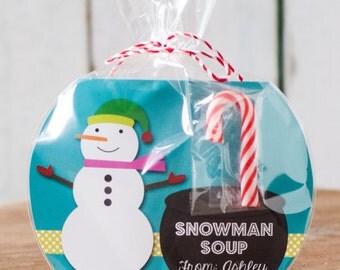 Printable Custom Snowman Soup Rounded Treat Bag Insert
