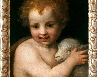 Beautiful St. John the Baptist with The Lamb, Art Print on Canvas, Framed